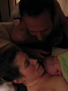 Shay, Mom and Dad just moments after the birth
